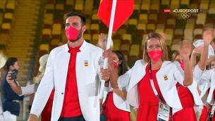 L'equip olímpic espanyol desfila a la cerimònia inaugural dels Jocs de Tòquio