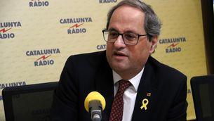 El president de la Generalitat, Quim Torra, durant l'entrevista a Catalunya Ràdio. Imatge de l'11 de febrer de 2019. (Horitzontal)