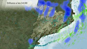 La pluja i el vent per a dilluns i dimarts, hora a hora