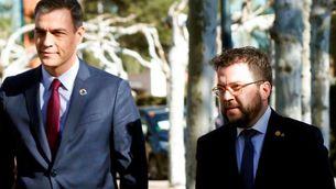 Aragonès i Sánchez, el febrer del 2020, arribant a la taula de diàleg (EFE)