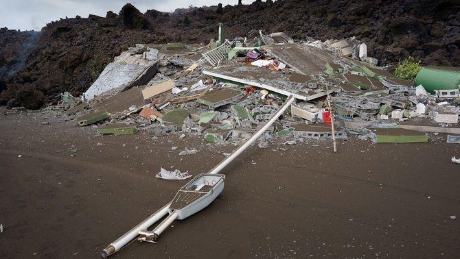 El rastre de la destrucció de la colada de lava a Todoque