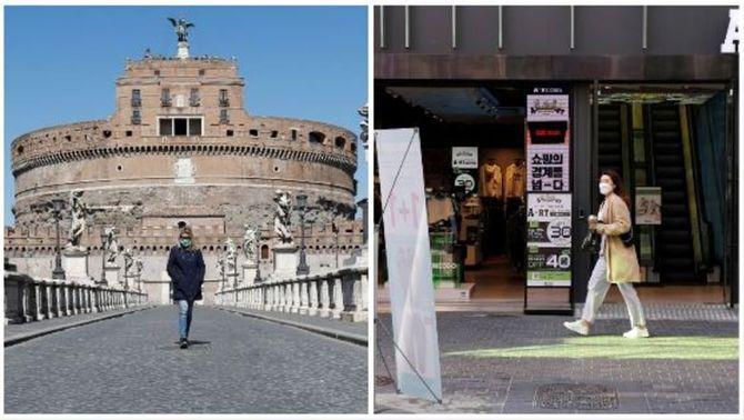 Dues dones passejant, per Roma i Seül, aquest dilluns
