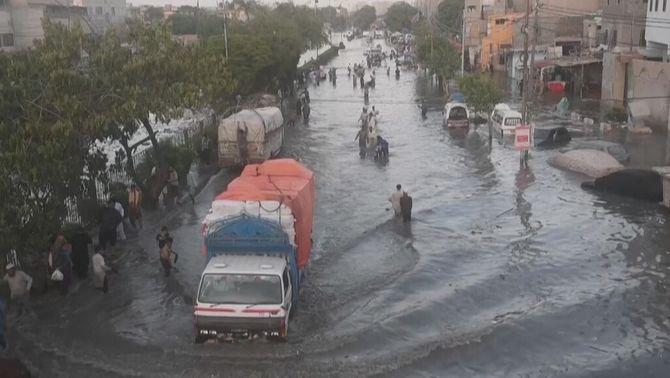 Inundacions per pluges monsòniques a Karachi, al Pakistan