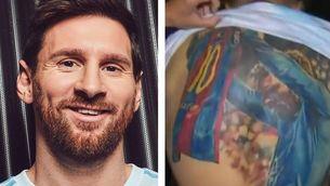Leo Messi firma un tatuatge seu d'un aficionat brasiler