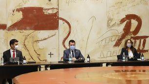 El president Aragonès, el vicepresident Puigneró i la consellera Vilagrà, en la reunió del govern de dimarts passat