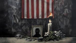 Un fragment de l'obra de Banksy que denuncia l'assassinat racista de George Floyd