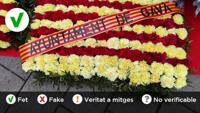 La falta d'ortografia que s'ha fet viral durant l'ofrena floral de la Diada a Gavà és certa