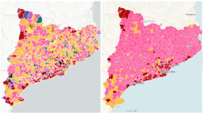 El mapa del vot dual del 26M: ERC a les municipals, JxCat a les europees