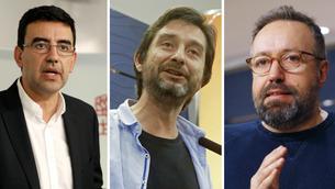 Mario Jiménez, del PSOE, Rafa Mayoral, de Podem, i Juan Carlos Girauta, de Ciutadans (EFE)