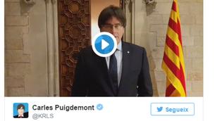Puigdemont publica un vídeo on agraeix la confiança rebuda al Parlament