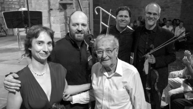 El Quartet Casals amb Jordi Roch, president i fundador de la Schubertíada (Foto de Martí Artalejo)