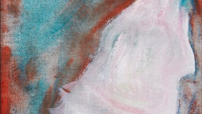 Un detall de la pintura, el retrat d'una persona no especificada