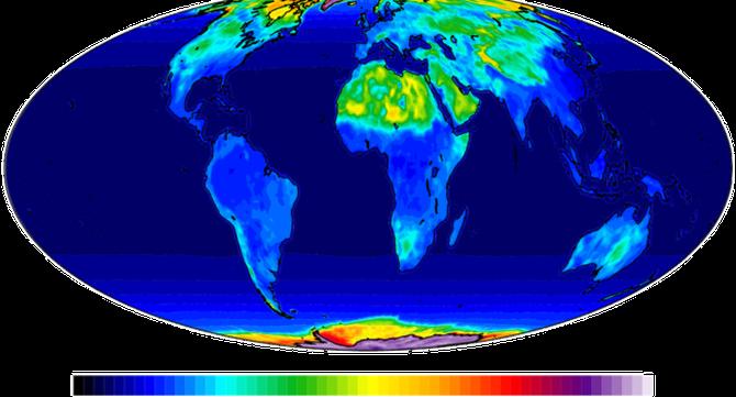 Mapa que mostra diferències d'albedo a diversos llocs de la Terra