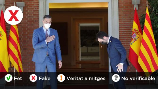 No, Aragonès no fa una reverència davant de Sánchez abans de la reunió a La Moncloa