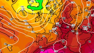 Temperatures a 850 hPa dilluns, 2 de juliol (Font: Wetterzentrale)